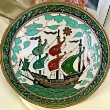 VintagePersian Enameled Decorative Plate Brass Colour Metal Base Great Condition