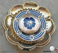 Brosche Schaumgold Emaille Biedermeier antik mit Onyx Anstecknadel