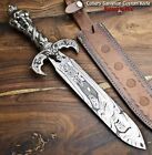 Rare Hand Made Damascus Steel Blade Dagger Hunting Knife   Pewter Handle