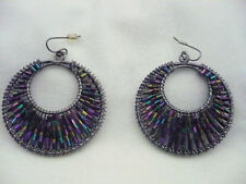 Large hoop pierced earrings black metal with iridiscent purple bead work
