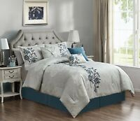 Chezmoi Collection Flora 7-Piece Blue Floral Embroidered Bedding Comforter Set