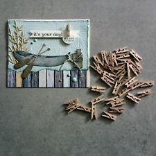 "KAISERCRAFT MINI PEGS 50 NATURAL WOOD 2.5CM 1"" EMBELLISHMENTS ACCENTS CARDMAKING"
