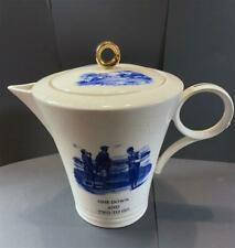 Art Deco Coalport china coffee Pot with blue and white golf mottos