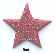 EDIBLE RED GLITTER STARS. CAKE DECORATIONS - MEDIUM 3cm x 15