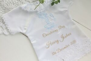 Personalised Christening Baptism white satin handkerchief with name and date