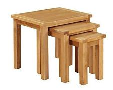Metro Oak Nest of 3 Tables - Set of 3 Light Oak Nested Tables - Oak Furniture