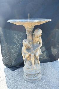 Bronze, 2 Kinder mit Buch, als Brunnen, goldene Antikpatina, lackpat., 105cm