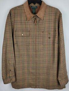 Ralph Lauren Mens Size 2X Brown Gingham 100% Wool Zip Up Leather Trim Shirt