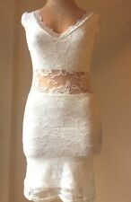 Sexy Women's Dress Lace Mini Pencil Bridal Summer Beach Cocktail White Size XS