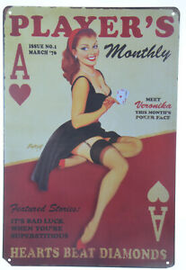 """Player Monthly Magazine Sexy Cover Girl Poker Club Retro Metal Tin Sign 8x12"""""""