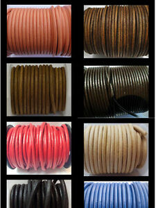 Real Round Leather Cord FULL 4mm String Lace Thong Jewellery 100% Genuine