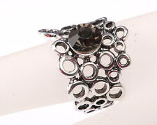 Park lane Designer Silver Tone Ring made of Circles, with Grey Stone, Size S