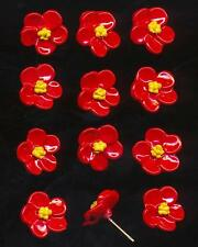12 Vintage Bood Red Painted Enamel Metal Flowers Earring Wire Finding 12mm