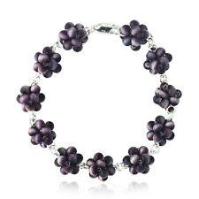 925 Silver Purple Cats Eye Bead Cluster Bracelet, 19.1cm