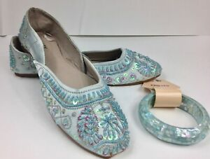 ROSY Embroidered Satin Flat Shoes Size 11 Light Blue Beads Sequins Wedding Style