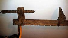 Morsa morsetto strettoio tutto in legno da falegname cm. 200 antica vintage
