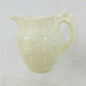 Wedgwood Devonshire Ivory Pitcher Embossed Hunting Scene Dog Handle 11 Oz.