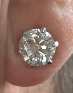 3.60ct Diamond Solitaire Earrings 18ct Gold Studs Valuation Cert Inc