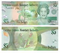 CAYMAN ISLANDS $5 Dollar UNC Banknote (2010) P-39a Queen Elizabeth D/1 Prefix
