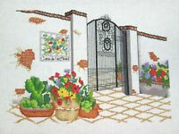 Mexican House Gate Flowers Casa De Las Flores Needlepoint Handmade Finished Vtg