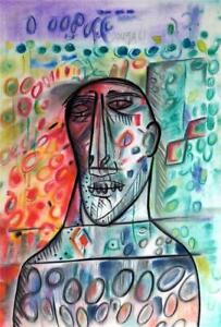 FRANCIS NEWTON SOUZA / Real Original Pastel on Paper, Drawing Signed & Dated.