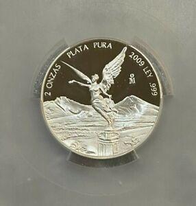 2009 Mexico 2 Oz. Proof Silver Libertad  PCGS PR69DCAM ~~ RARE POP ~~