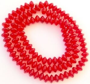 8mm Czech Bohemian Glass Smooth Red Vaseline Shape Trade Beads
