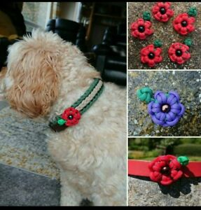Paracord POPPY Charm for Dog Collars - in Aid of Poppy Appeal Charity