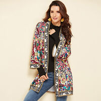 Women Long Sleeve Floral Casual Blazer Suit Cardigan Jacket Coat Outwear