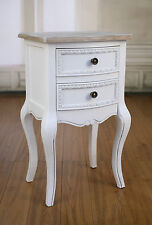 2 x Bedside Chests French Provincial Antique White Bedside Table 2 Drawer NEW