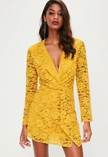 7# Missguided Yellow/Mustard  Plunge Lace Twist Front Dress, size10, BNWT RRP£45