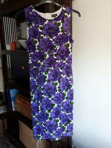 Phase Eight Purple White Floral Midi Dress 12 Wedding Graduation Races