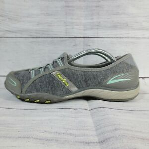 Womens Skechers Biker Mary Jane Shoes Grey Gray Size 7.5 Slip On Memory Foam