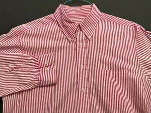 BROOKS BROTHERS PINK STRIPED SEERSUCKER COTTON SHIRT EXC COND. SIZE L