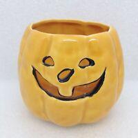 Vintage Halloween Jack-O-Lantern Candle Holder Orange Ceramic Pumpkin Decor