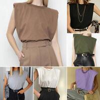 Women Summer Basic Vest Tops Lady Round Neck Blouse Sleeveless Tee Loose T Shirt