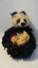 Deb Canham Brooster and Rooster mohair panda bear w calico chick 7""