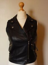 Carrie Hoxton London Real Leather Gilet Sleeveless Jacket Size 10 BNWT Black