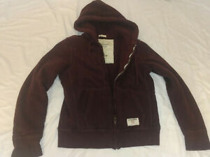 Abercrombie & Fitch Mens Muscle Quilted JACKET Hoodie Red Brown HEAVY 4LB M SOFT