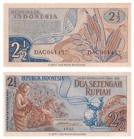 Indonesia 2 1/2 Rupiah 1961 P-79  Banknotes  UNC