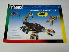 Knex Instruction Manual Only #12076 Creatures Value Tub (400 Pc. Set) Book