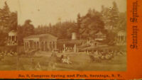 SARATOGA  NY 1871   BUILDING STREET VIEW TOWN ( STEREOVIEW ) PHOTO card