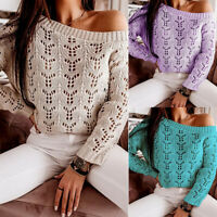 ❤️Sexy Womens Knit Hollow Jumper Sweater Tops Ladies Long Sleeve Casual Pullover