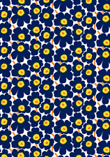"Marimekko Pieni Unikko fabric half yard 18"" x 56"" cotton, Finland, yellow blue"