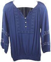 Cable & Gauge Ladies Womens Blue Long Sleeve Button Up Blouse Top Size M