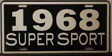 METAL LICENSE PLATE 1968 68 SUPER SPORT SS CAMARO IMPALA NOVA CHEVELLE EL CAMINO