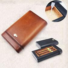 COHIBA Brown Real Leather Cedar 3 Tube Travel Cigar Case Humidor W Humidifier