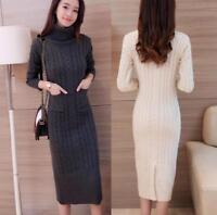 Womens Cashmere Long Sleeve Turtleneck Knit Sweater Dress Pullover Knitwear Slim