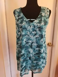 Nue Options  sleeveless turquoise top  New  L