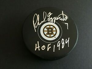 """PHIL ESPOSITO AUTOGRAPHED BOSTON BRUINS PUCK W/ """"HOF1984"""" INSCR.  J.S.A.  AUTH"""